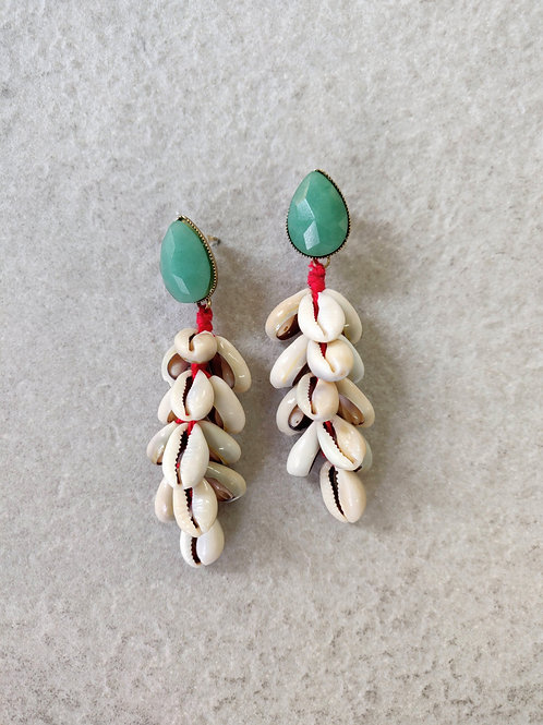 Drop Shell Cluster Earrings