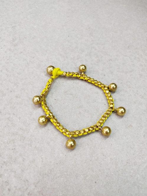 Yellow Beaded Brass Ball Bracelet