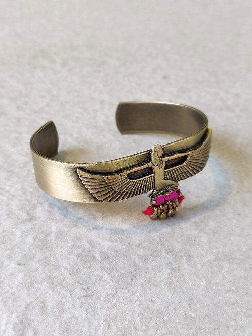 Brass Egyptian Goddess Maat Cuff