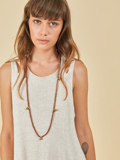 7 Brass Ball Fuchsia Necklace