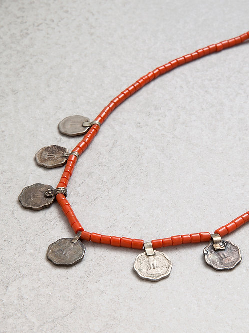 Antique Glass Coin Necklace