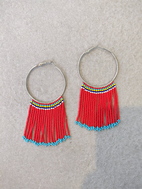 African Zulu Beaded Hoops