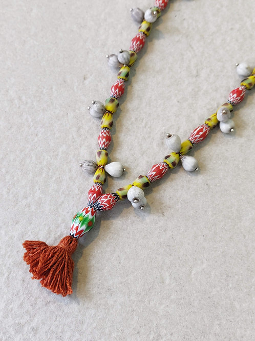 African Chevron Seed Necklace