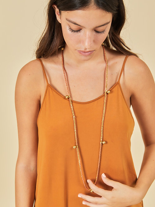 7 Ball Salmon Pink Brass Necklace