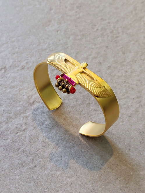 Gold Egyptian Goddess Maat Cuff