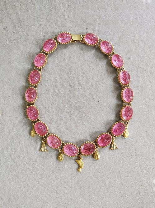 Pink Scarab Choker