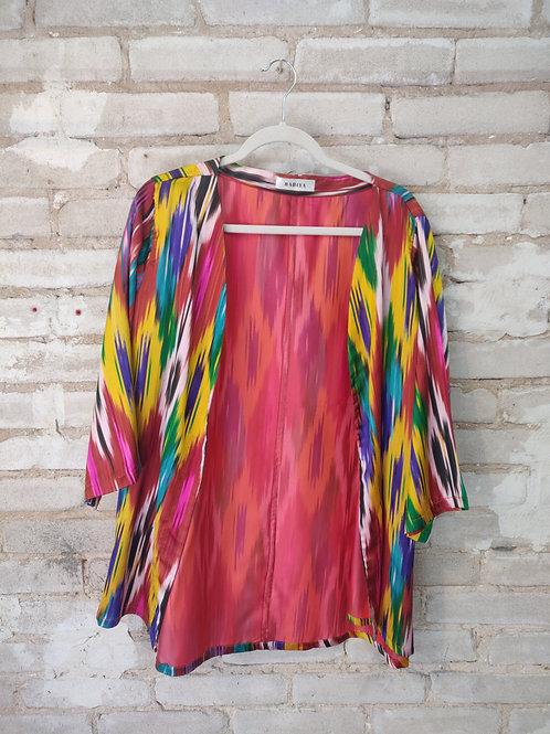 Vintage Uzbek Atlas Silk Kimono