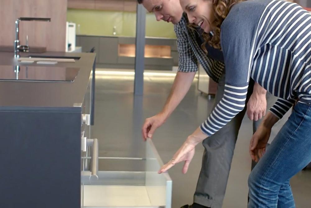 Renovators visit a DIY kitchen showroom