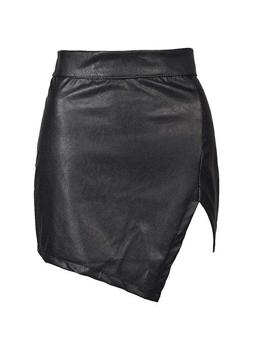 Asymmetrical Pleather Skirt - 1X