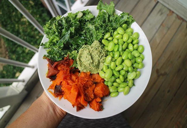 Tahini and lemon juice massaged kale, edamame, baked sweet potato & pesto