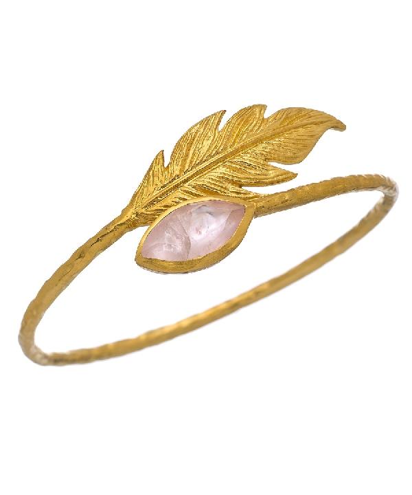 Gold and Rose Quartz Leaf Bangle Bra