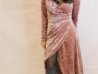 Rosy Velvet Wrap Dress