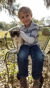 Boy and his cat