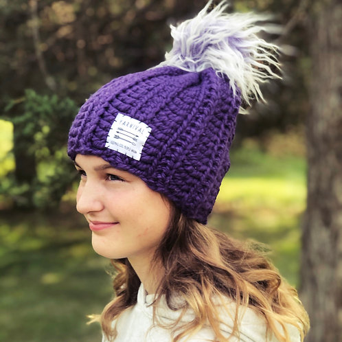 Grape Pom Hat