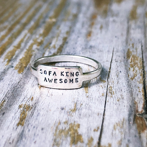 Sofa King Awesome tab ring