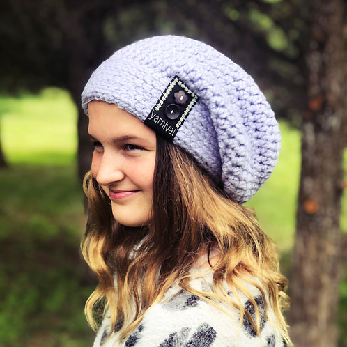 Lilac w/buttons Slouch Hat