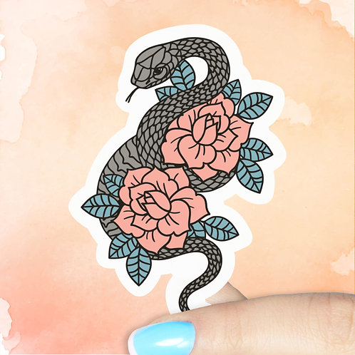 Snake & Roses Decal