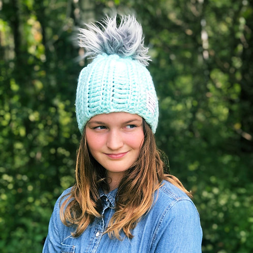 Mint w/Frosted Gray Pom Hat