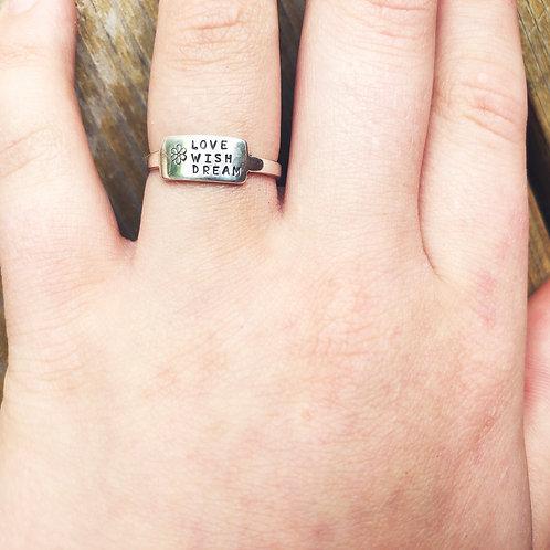 Love Wish Dream (w/flower) tab ring