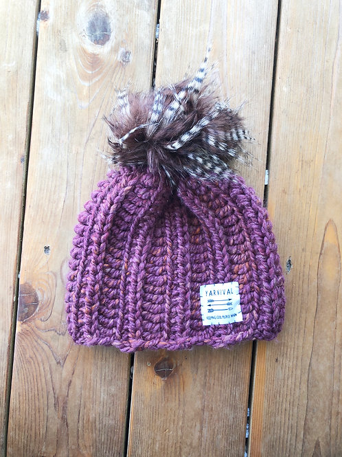 Plum & Orangey w/Feather Pom