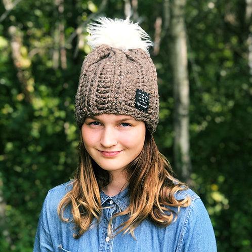 Barley w/Fluffy Cream Pom Hat
