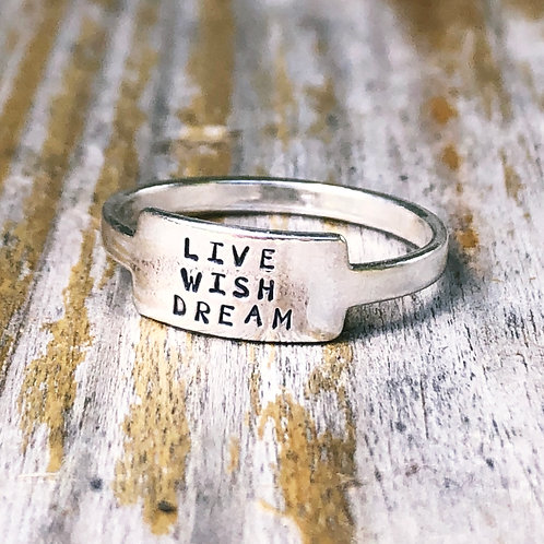 Live Wish Dream tab ring