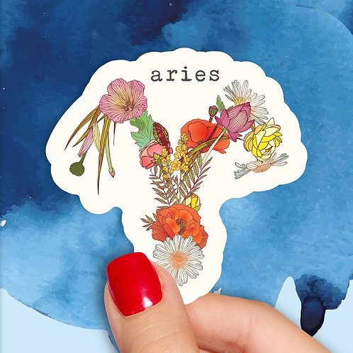 Aries Floral Decal