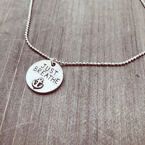 JUST BREATHE anchor Necklace