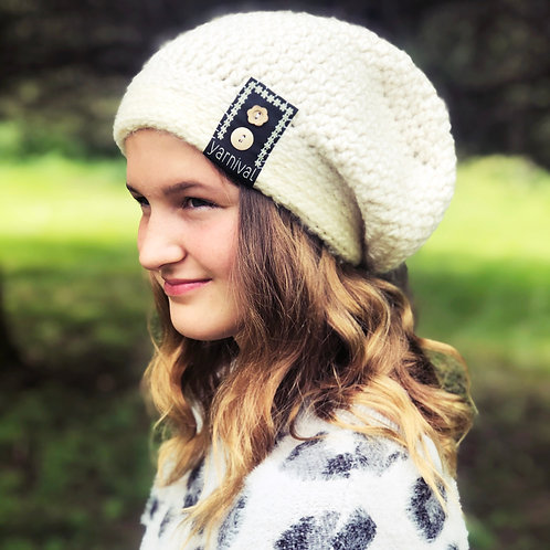 Cream w/buttons Slouch Hat