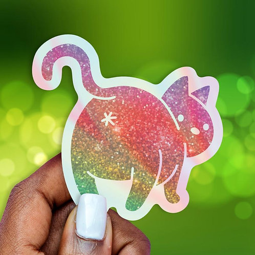 Cat Booty Holographic Decal