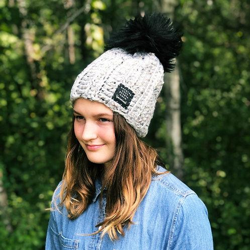 Gray Marble w/Giant Black Pom Hat