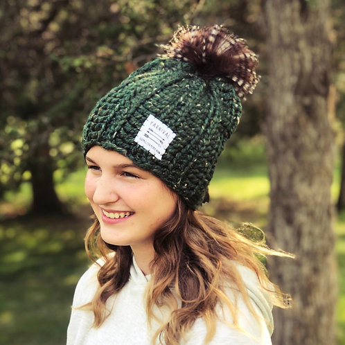 Pine Tweed Pom Hat