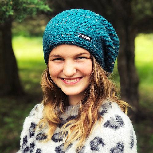 Teal Tweed Slouch Hat