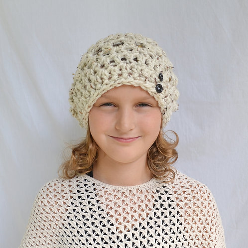 Cream Tweed Slouch Hat