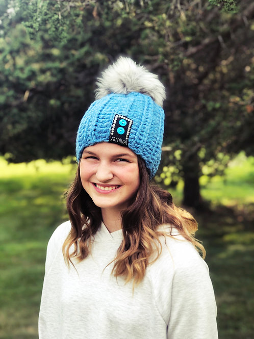 Blueberry Pom Hat