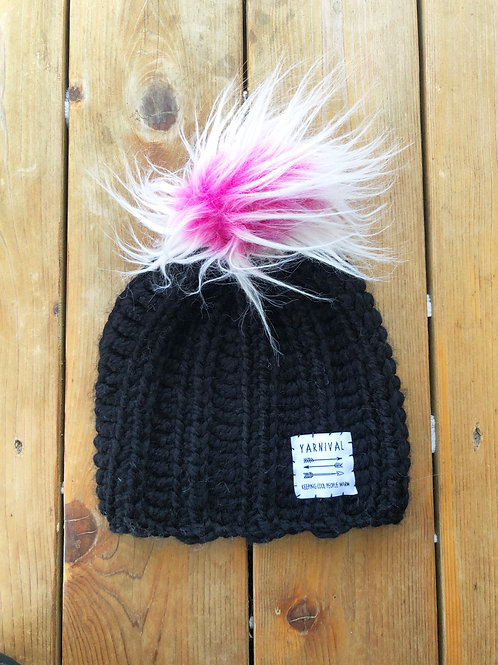 Black w/Pink Frosted Pom