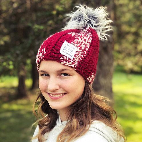 Cranberry Mix Pom Hat