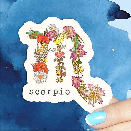 Scorpio Floral Decal