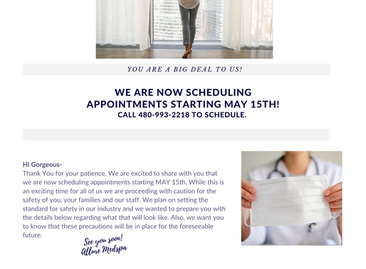 We Are Scheduling Appointments Starting May 15th and YOU Are A Big Deal!