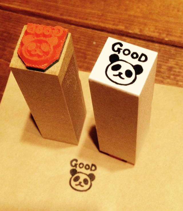R011パンダ*GOOD☆ラバースタンプ_1