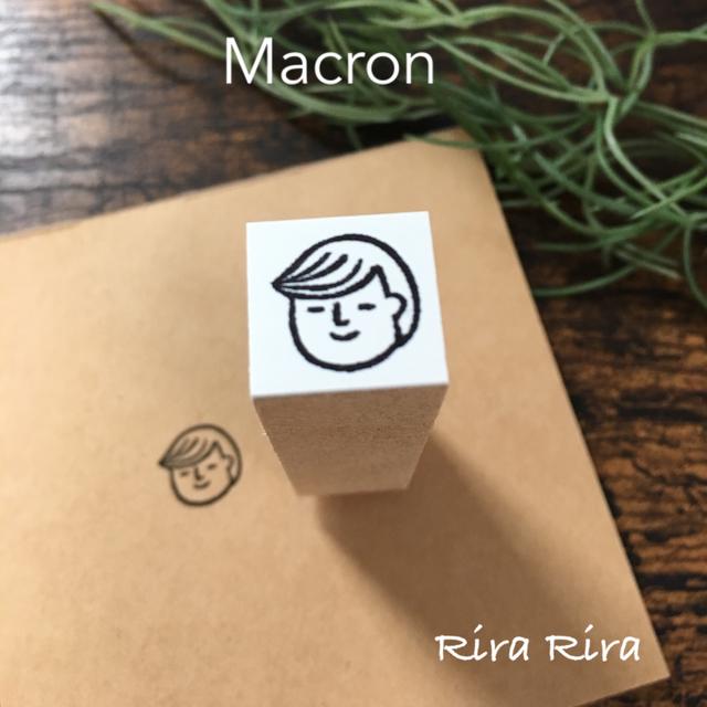 R075マカロンくん☆顔だけ☆ラバースタンプ_1