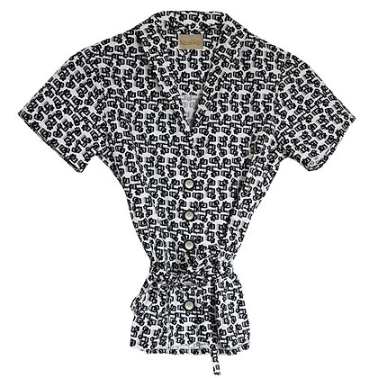 Women's Print Shirt in Floral Print Monochrome Product View