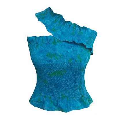 Dionne Top in Azure Batik