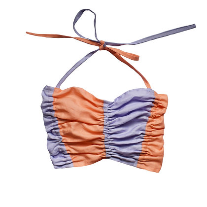 Trapeze Ruched Top in Violet Peach