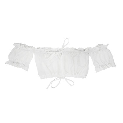 Nimiiny Dove Mini off the shoulder puff ruffle tie up top in textured white cotton Tied