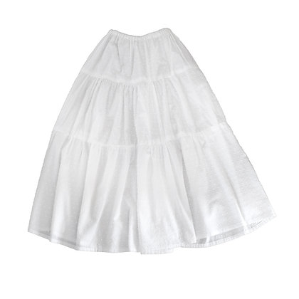 Nimiiny Swing Tiered Skirt in textured white cotton Summer