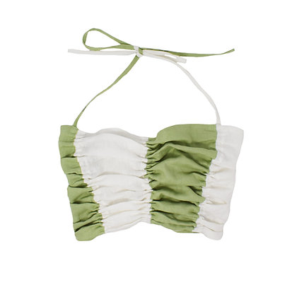 Trapeze Ruched Top in White Mint