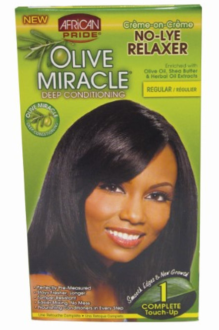 African Pride Olive Miracle Deep Conditioning No-Lye Relaxer, Regular Kit