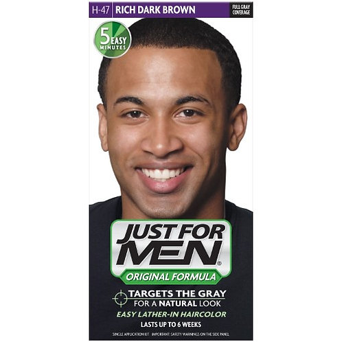 Just for Men Shampoo-in Color, Gray Hair Coloring for Men - Rich Dark Brown