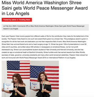 Miss World America Washington Shree Sain